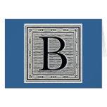 """Block Letter """"B"""" Woodcut Woodblock Inital Cards"""