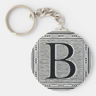 "Block Letter ""B"" Woodcut Woodblock Inital Keychain"