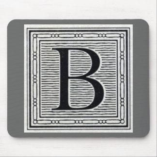 """Block Letter """"B"""" Woodcut Woodblock Inital Mouse Pad"""
