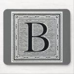 """Block Letter """"B"""" Woodcut Woodblock Inital Mousepads"""