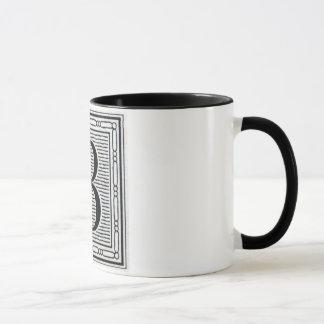 """Block Letter """"B"""" Woodcut Woodblock Inital Mug"""