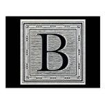 """Block Letter """"B"""" Woodcut Woodblock Inital Postcards"""