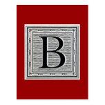 """Block Letter """"B"""" Woodcut Woodblock Inital Post Card"""