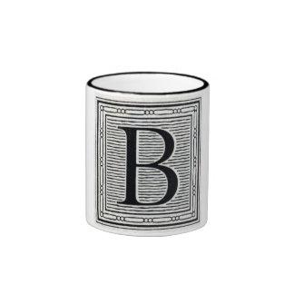 """Block Letter """"B"""" Woodcut Woodblock Inital Ringer Mug"""