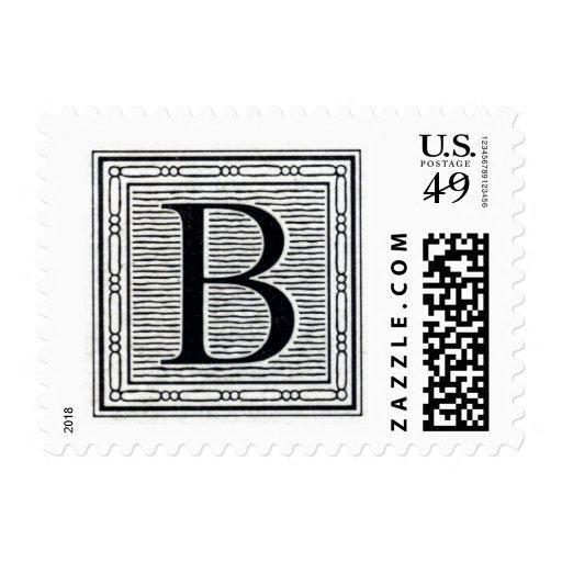 """Block Letter """"B"""" Woodcut Woodblock Inital Stamp"""