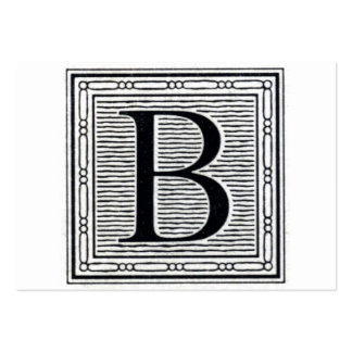 "Block Letter ""B"" Woodcut Woodblock Initial Large Business Cards (Pack Of 100)"