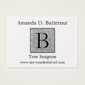 "Block Letter ""B"" Woodcut Woodblock Initial Business Card"
