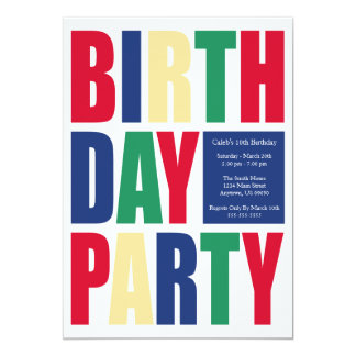 "Block Letter Birthday Party Invitations 5"" X 7"" Invitation Card"