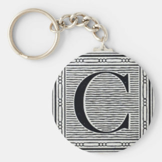 "Block Letter ""C"" Woodcut Woodblock Inital Basic Round Button Keychain"