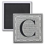"""Block Letter """"C"""" Woodcut Woodblock Inital Fridge Magnet"""