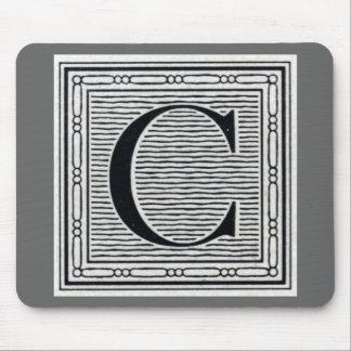 """Block Letter """"C"""" Woodcut Woodblock Inital Mouse Pad"""