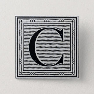 "Block Letter ""C"" Woodcut Woodblock Inital Pinback Button"