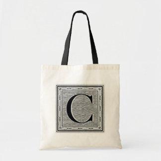 """Block Letter """"C"""" Woodcut Woodblock Inital Tote Bag"""