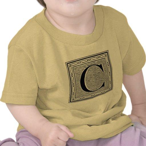 """Block Letter """"C"""" Woodcut Woodblock Inital Tee Shirt"""