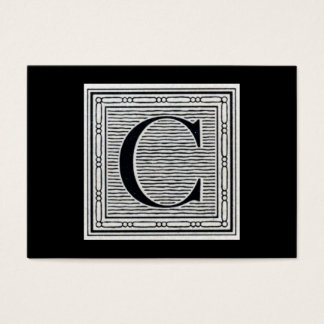 "Block Letter ""C"" Woodcut Woodblock Initial Business Card"