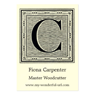 "Block Letter ""C"" Woodcut Woodblock Initial Large Business Cards (Pack Of 100)"
