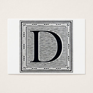 "Block Letter ""D"" Woodcut Woodblock Initial Business Card"