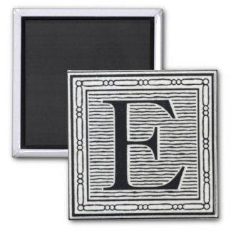 "Block Letter ""E"" Woodcut Woodblock Inital 2 Inch Square Magnet"