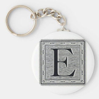 "Block Letter ""E"" Woodcut Woodblock Inital Basic Round Button Keychain"