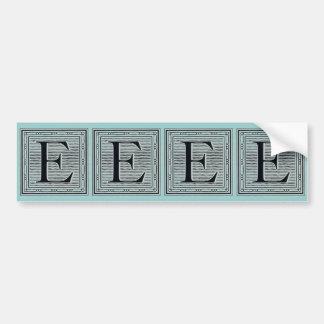 "Block Letter ""E"" Woodcut Woodblock Inital Bumper Sticker"