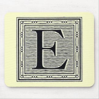 """Block Letter """"E"""" Woodcut Woodblock Inital Mouse Pad"""