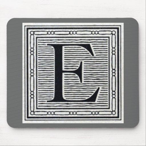 """Block Letter """"E"""" Woodcut Woodblock Inital Mousepad"""