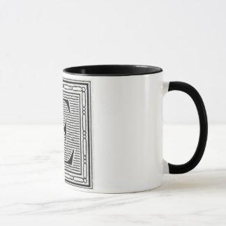 """Block Letter """"E"""" Woodcut Woodblock Inital Mug"""