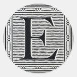 """Block Letter """"E"""" Woodcut Woodblock Inital Stickers"""