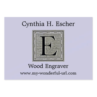 "Block Letter ""E"" Woodcut Woodblock Initial Large Business Cards (Pack Of 100)"