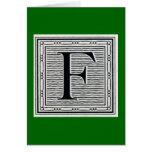 """Block Letter """"F"""" Woodcut Woodblock Inital Greeting Card"""