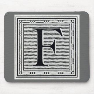 """Block Letter """"F"""" Woodcut Woodblock Inital Mouse Pad"""