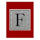 "Block Letter ""F"" Woodcut Woodblock Inital Postcards"