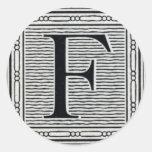 """Block Letter """"F"""" Woodcut Woodblock Inital Round Sticker"""