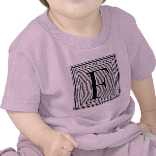 """Block Letter """"F"""" Woodcut Woodblock Inital T-shirt"""