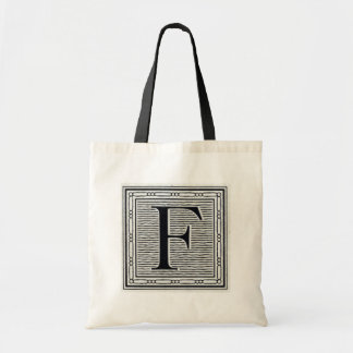 "Block Letter ""F"" Woodcut Woodblock Inital Tote Bag"