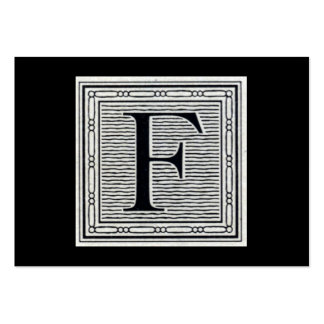 """Block Letter """"F"""" Woodcut Woodblock Initial Business Cards"""