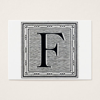 "Block Letter ""F"" Woodcut Woodblock Initial Business Card"