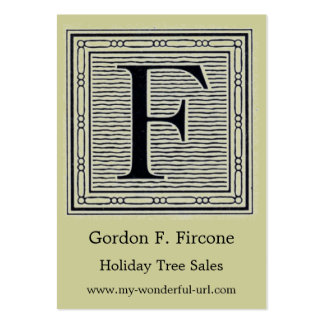 """Block Letter """"F"""" Woodcut Woodblock Initial Business Card Template"""