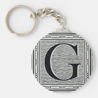 "Block Letter ""G"" Woodcut Woodblock Inital Basic Round Button Keychain"