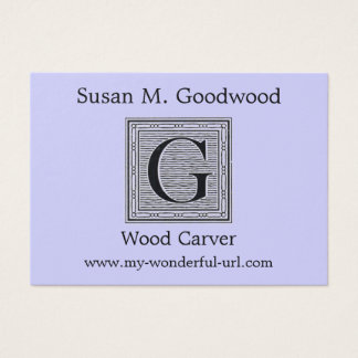 "Block Letter ""G"" Woodcut Woodblock Inital Business Card"