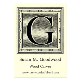 "Block Letter ""G"" Woodcut Woodblock Inital Large Business Cards (Pack Of 100)"