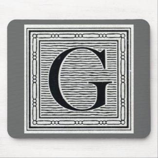 """Block Letter """"G"""" Woodcut Woodblock Inital Mouse Pad"""