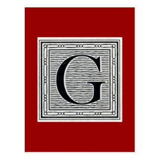 Block Letter G Woodcut Woodblock Inital Postcard