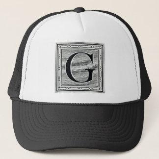 "Block Letter ""G"" Woodcut Woodblock Inital Trucker Hat"