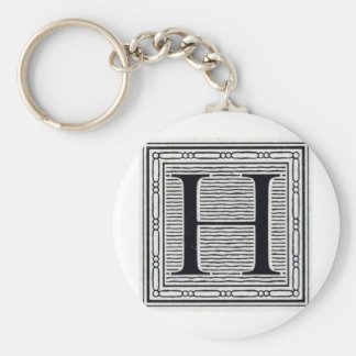"Block Letter ""H"" Woodcut Woodblock Inital Basic Round Button Keychain"