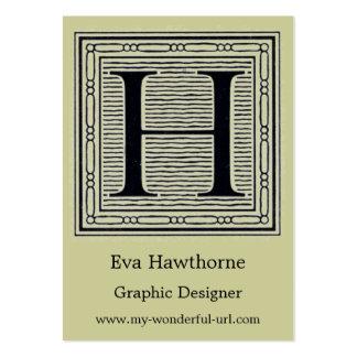 "Block Letter ""H"" Woodcut Woodblock Inital Business Cards"