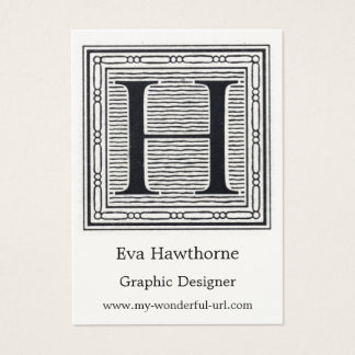 "Block Letter ""H"" Woodcut Woodblock Inital Business Card"