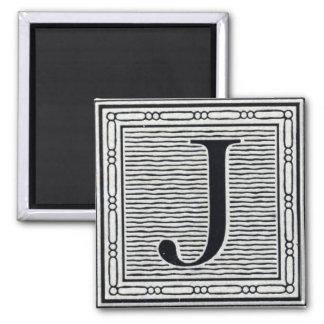 "Block Letter ""J"" Woodcut Woodblock Inital 2 Inch Square Magnet"