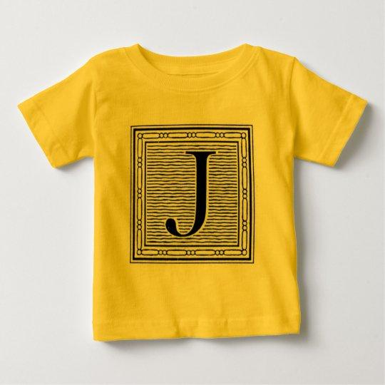 """Block Letter """"J"""" Woodcut Woodblock Inital Baby T-Shirt"""