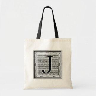 "Block Letter ""J"" Woodcut Woodblock Inital Tote Bag"